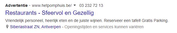 lokale advertentie in zoekresultaten
